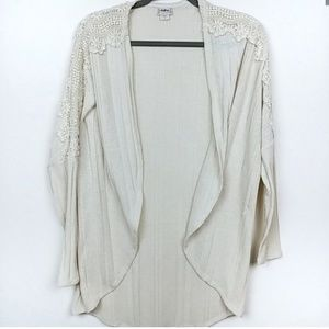 Daytrip | Lace knit Open Front Cardigan Tan Cream